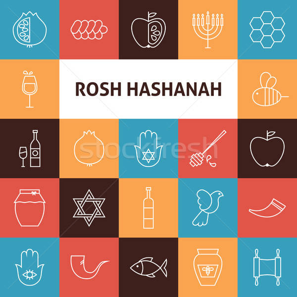 Line Art Rosh Hashanah Jewish New Year Holiday Icons Set Stock photo © Anna_leni