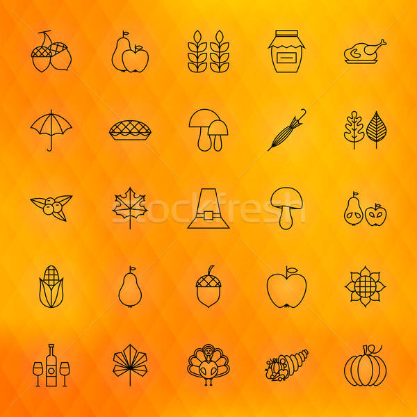 Thanksgiving Day Thin Line Icons Set Stock photo © Anna_leni