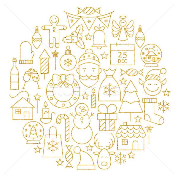 Gold Merry Christmas Holiday Line Icons Set Circle Shape Stock photo © Anna_leni