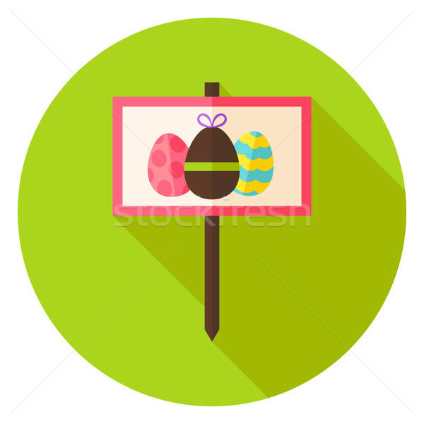 Garden Sign with Easter Eggs Circle Icon Stock photo © Anna_leni