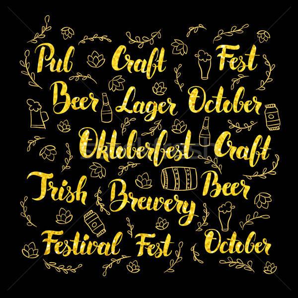 Foto stock: Oktoberfest · oro · diseno · cerveza · pub · caligrafía