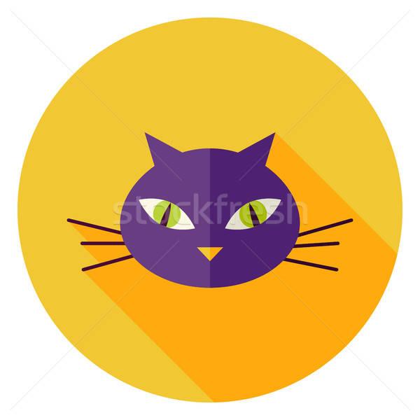 Stock photo: Cat Face Circle Icon