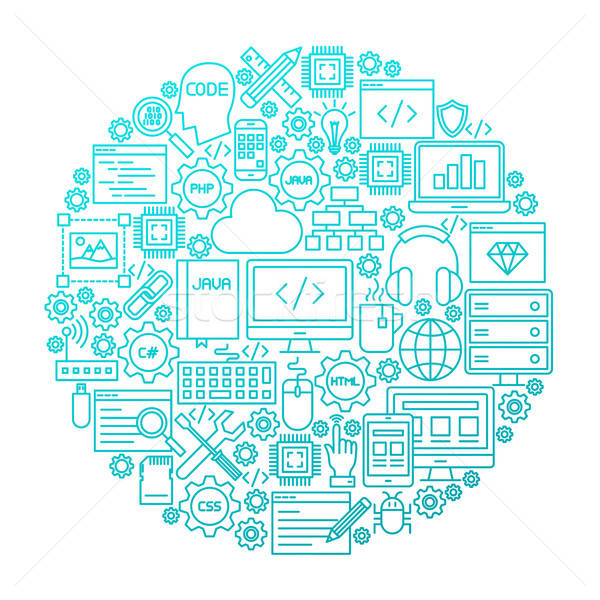 Programming Line Icon Circle Design Stock photo © Anna_leni