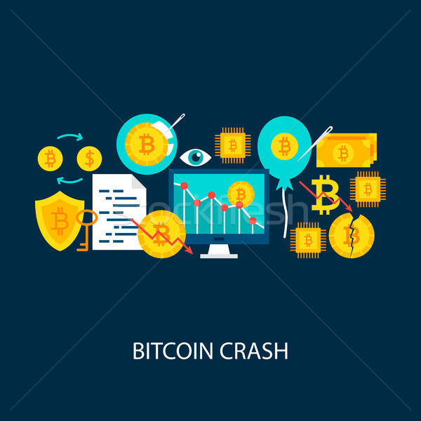 Bitcoin crash vettore poster design set Foto d'archivio © Anna_leni