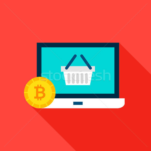 Bitcoin Shopping Flat Icon Stock photo © Anna_leni