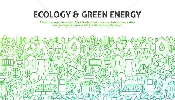 Ecologie groene energie lijn website design banner sjabloon Stockfoto © Anna_leni