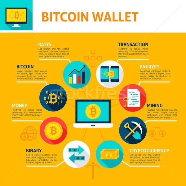 Bitcoin pénztárca infografika terv technológia kulcs Stock fotó © Anna_leni
