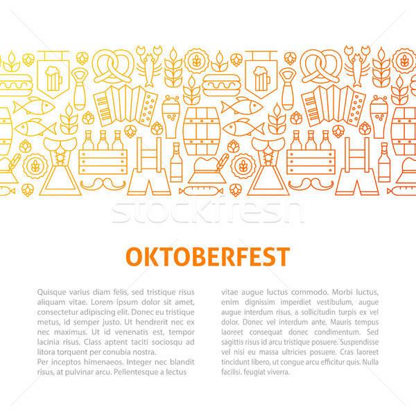 Oktoberfest line Design-Vorlage Gliederung Banner Party Stock foto © Anna_leni