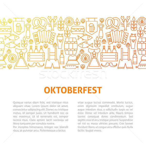 Oktoberfest lijn ontwerpsjabloon schets banner partij Stockfoto © Anna_leni