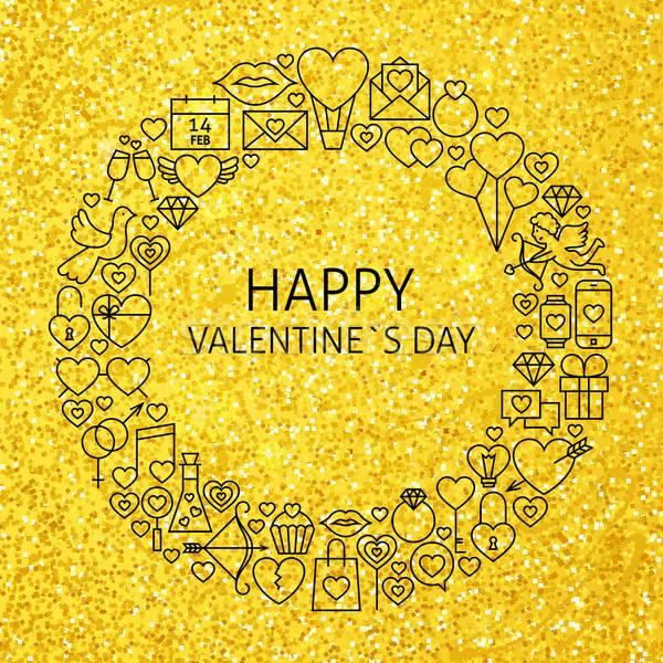 Happy Valentine Day Holiday Line Art Icons Set Circle Stock photo © Anna_leni