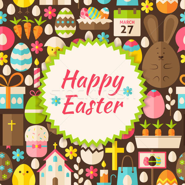 Flat Vector Pattern Happy Easter Background Stock photo © Anna_leni