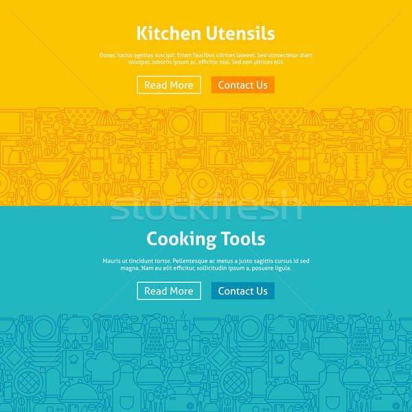 Kitchen and Cooking Line Art Web Banners Set Stock photo © Anna_leni