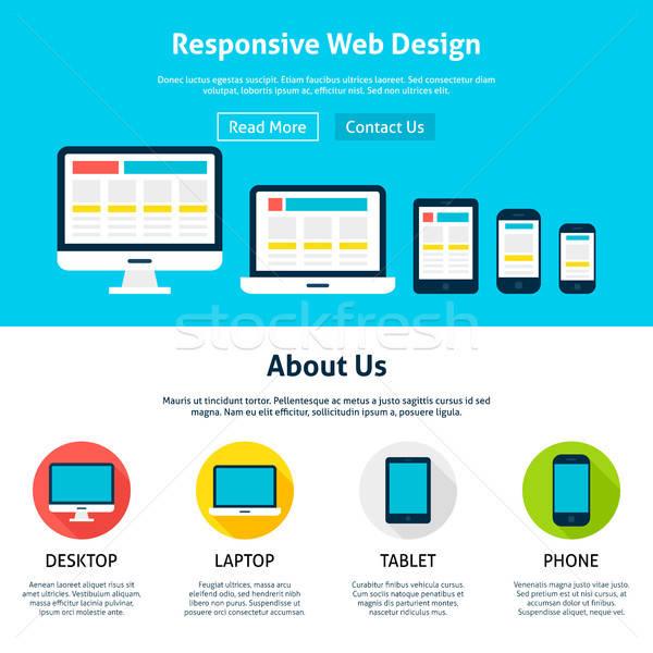 Duyarlı web tasarım şablon web sitesi afiş iniş Stok fotoğraf © Anna_leni