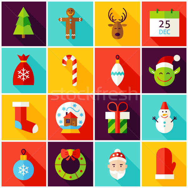 Happy New Year Colorful Icons Stock photo © Anna_leni
