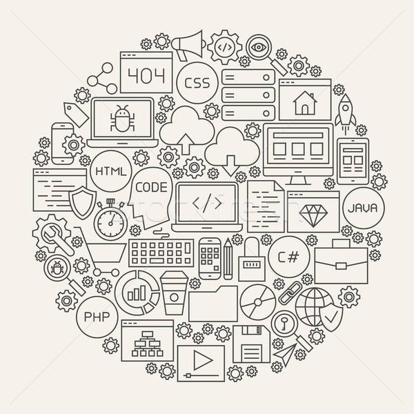 Coding Line Icons Circle Stock photo © Anna_leni