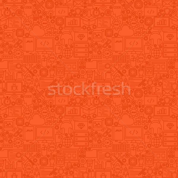 Foto stock: Rojo · línea · programación · azulejo