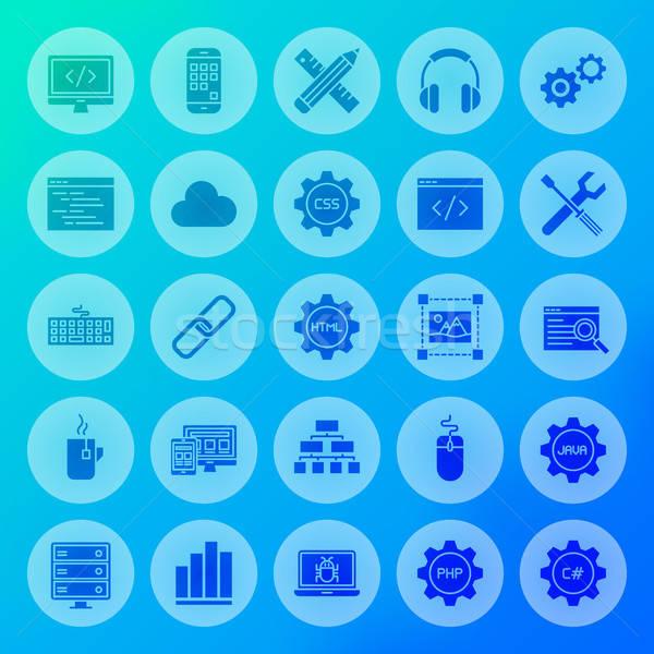 Programación sólido círculo iconos codificación Internet Foto stock © Anna_leni