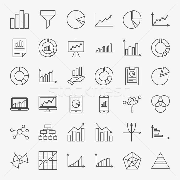 Graph Chart Line Icons Stock photo © Anna_leni