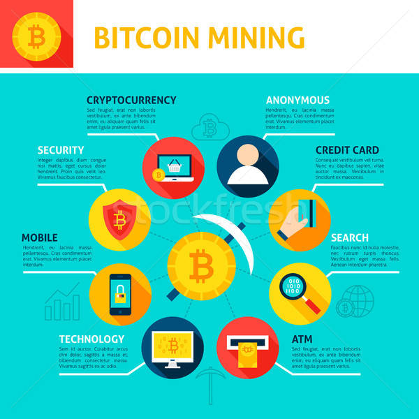 Bitcoin minière infographie design affaires argent Photo stock © Anna_leni