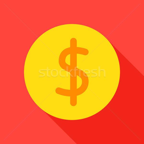 доллара монеты икона долго тень финансовых Сток-фото © Anna_leni