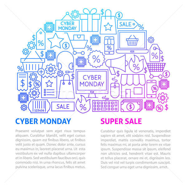 Cyber Monday Line Template Stock photo © Anna_leni