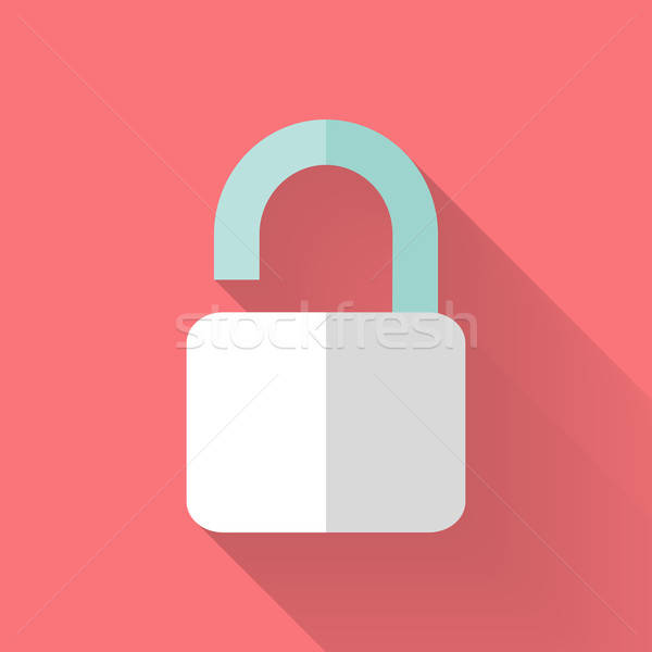 Flat open padlock icon over pink Stock photo © Anna_leni