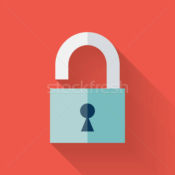 Flat open padlock icon over red Stock photo © Anna_leni