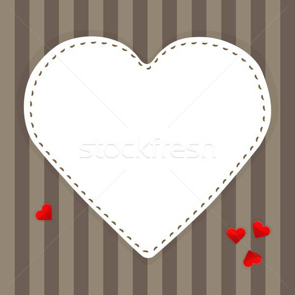 White paper heart on a stripped background Stock photo © Anna_leni
