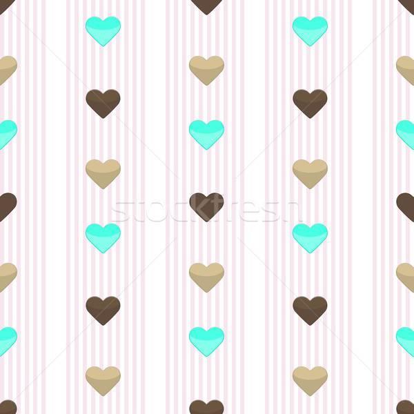 Seamless heart pink stripped pattern Stock photo © Anna_leni
