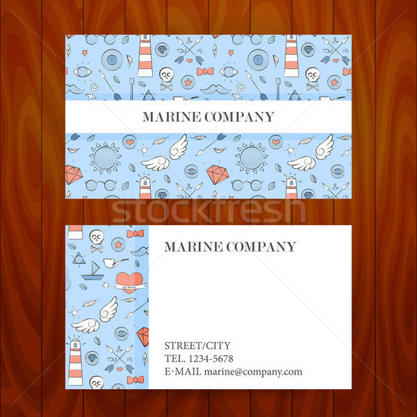 Business Card with Marine Sea Sketch Hand Drawn Background Stock photo © Anna_leni