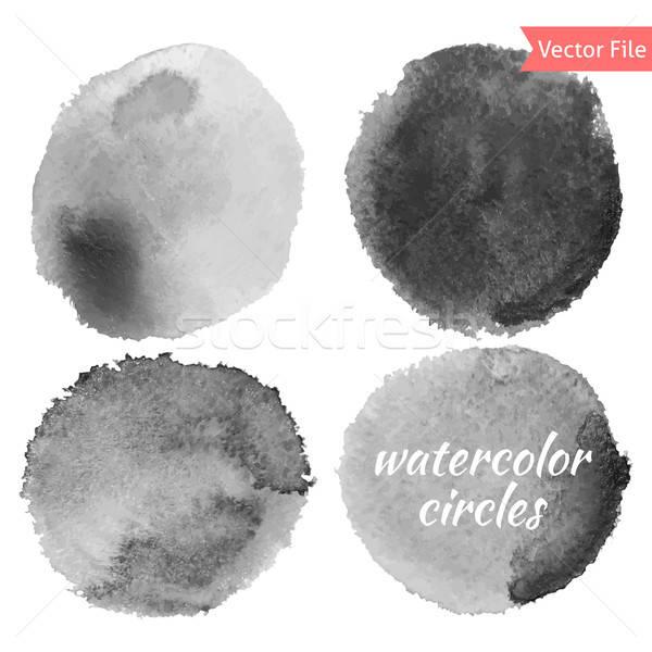 Stock fotó: Szürke · vízfesték · vektor · körök · szett · izolált