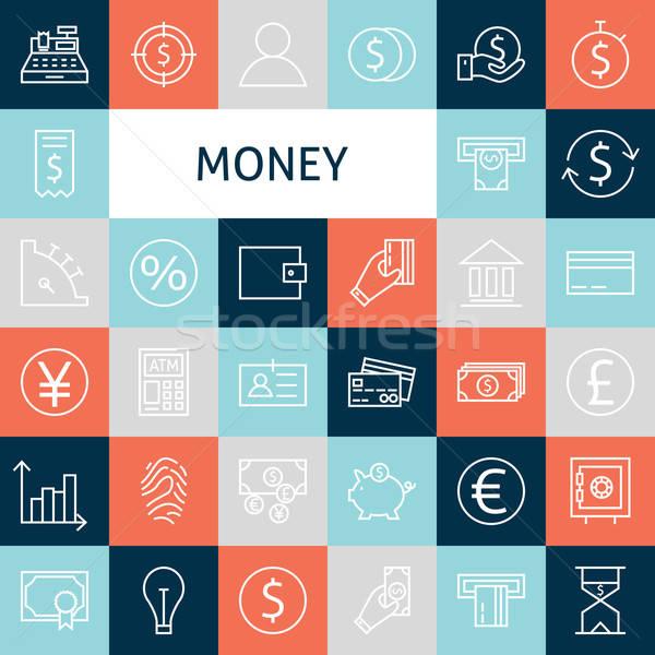 Stock photo: Vector Flat Line Art Modern Money and Finance Icons Set