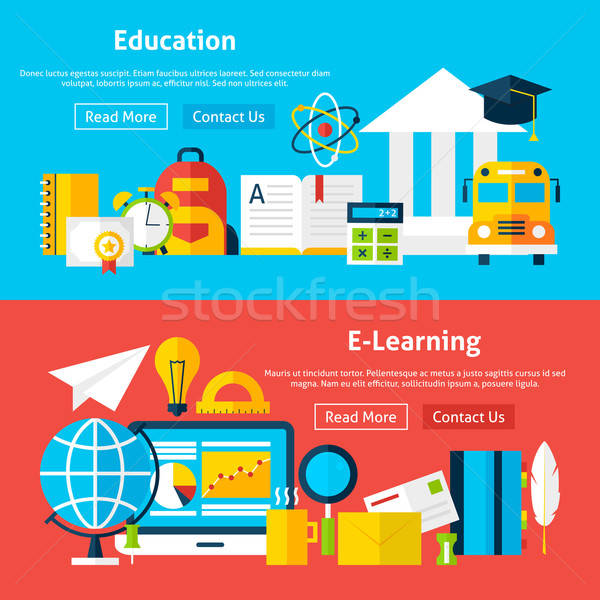 Education and E Learning Flat Website Banners Stock photo © Anna_leni