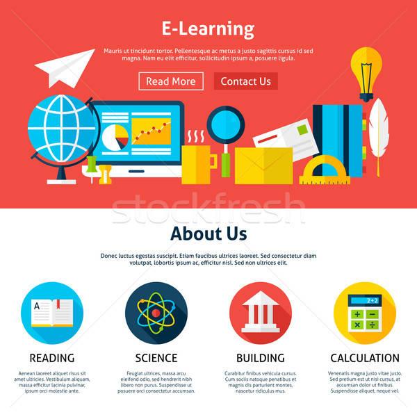 Stock fotó: Elektronikus · tanul · web · design · sablon · weboldal · szalag
