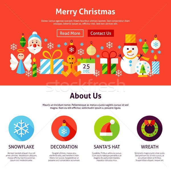 Stock fotó: Vidám · karácsony · web · design · stílus · weboldal · szalag