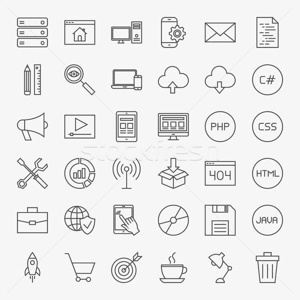 Stock photo: Coding Line Icons Set