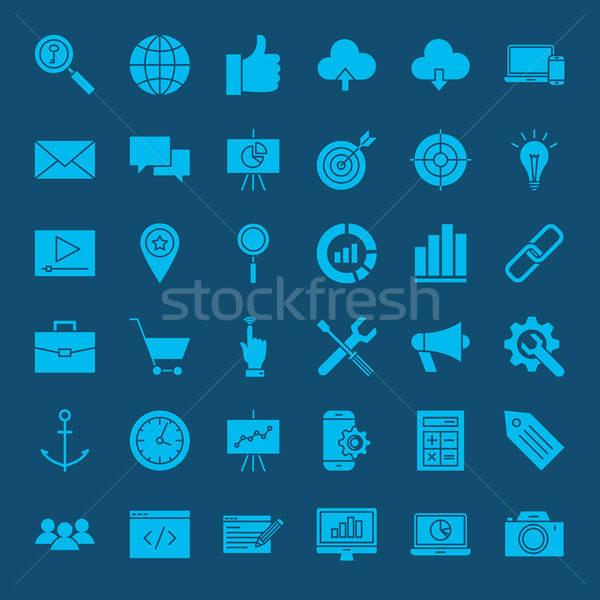 Stock fotó: Seo · webes · ikonok · vektor · szett · weboldal · fejlesztés