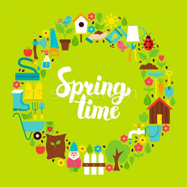 Stock fotó: Tavasz · idő · kör · szett · természet · kert