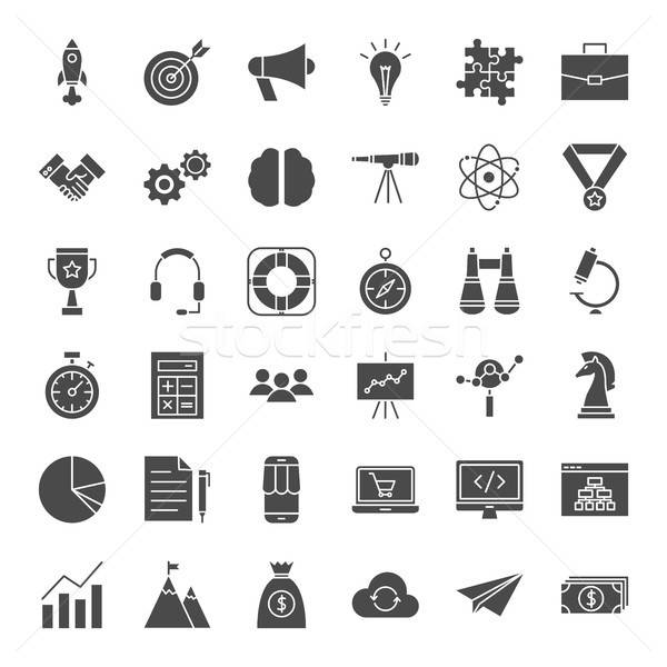 Inicio sólido iconos de la web vector establecer negocios Foto stock © Anna_leni