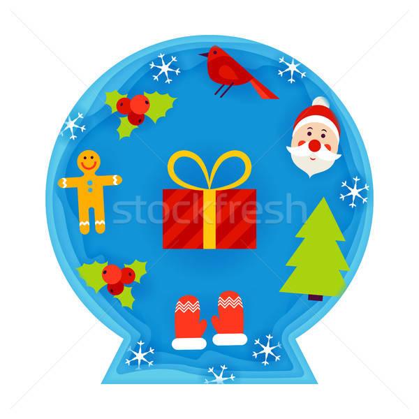 Christmas Decorative Ball Papercut Stock photo © Anna_leni
