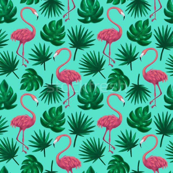 Flamingos Tropical Leaf Seamless Pattern Stock photo © Anna_leni