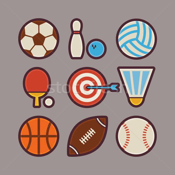 Sport Items Modern Flat Icons Set Stock photo © Anna_leni