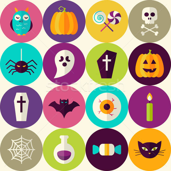 Flat Halloween Trick or Treat Seamless Pattern with Colorful Cir Stock photo © Anna_leni