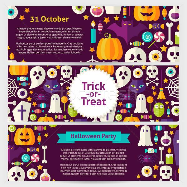 Zdjęcia stock: Halloween · strony · wektora · szablon · banery · zestaw