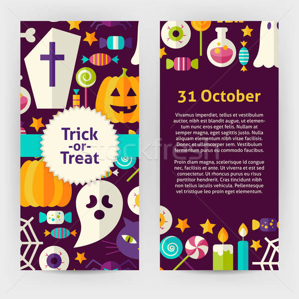 Vector Flyer Template of Flat Design Halloween Trick or Treat Ob Stock photo © Anna_leni