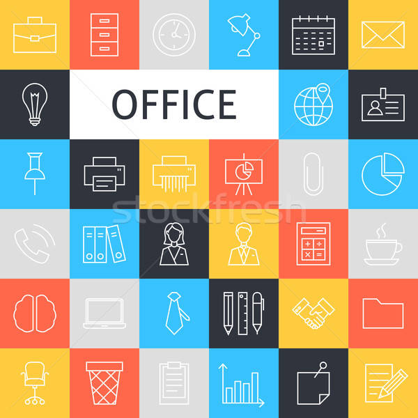 Vector Line Art Business Office Icons Set Stock photo © Anna_leni