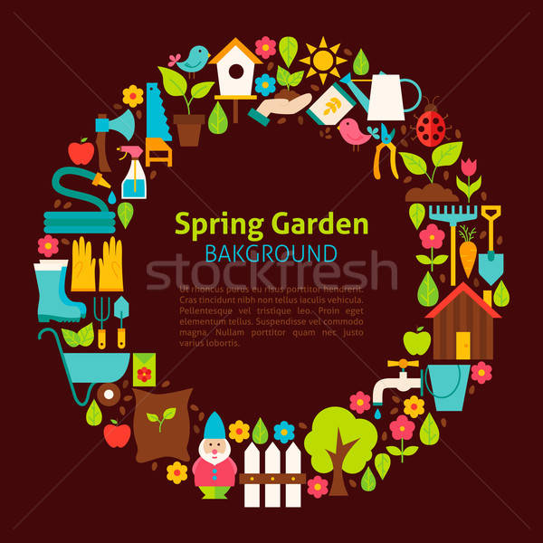 Flat Circle Collection of Spring Garden Objects Stock photo © Anna_leni