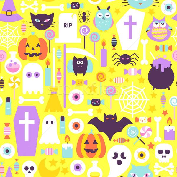 Halloween Trendy Color Seamless Pattern Stock photo © Anna_leni