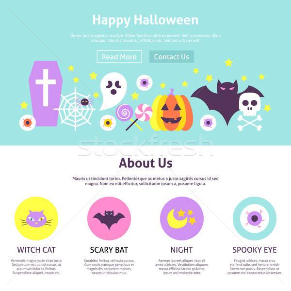 Heureux halloween conception de site web style site bannière Photo stock © Anna_leni