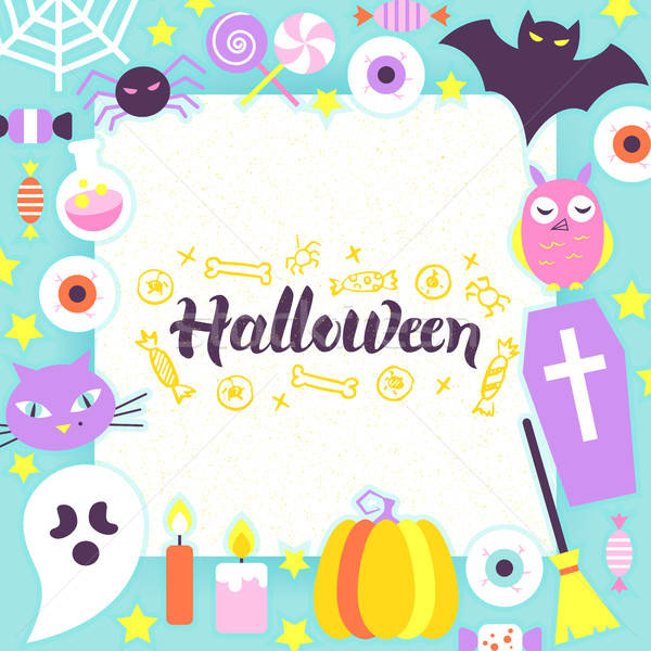 Хэллоуин бумаги шаблон стиль Scary вечеринка Сток-фото © Anna_leni